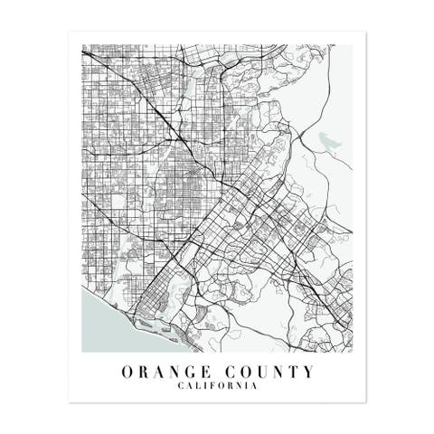 Orange County California Maps Minimal Unframed Wall Art Print/Poster