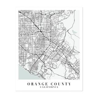 Orange Map Print Travel Poster Orange Map Print Wall Art Wall Art Decor City Map Wall Art Orange California Map