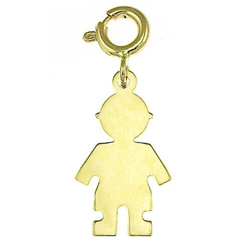 14k Yellow Gold Spring-ring Boy Silhouette Charm