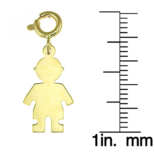 14k Yellow Gold Spring-ring Boy Silhouette Charm