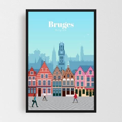 Bruges Belgium Architecture Framed Wall Art Print