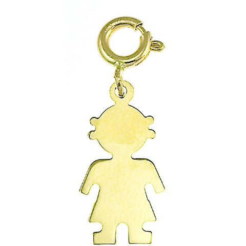 14k Yellow Gold Girl Silhouette Charm