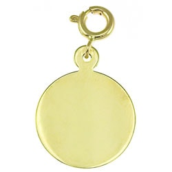 14k Yellow Gold Engravable Circle Charm