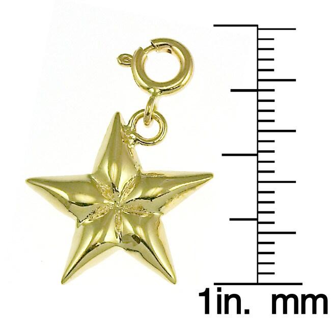 14k Yellow Gold Shining Star Charm