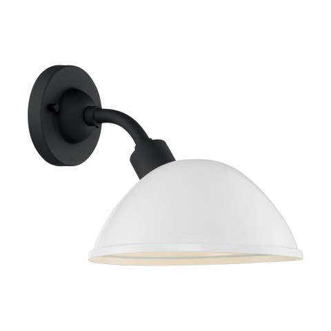 South Street 1-Light Sconce with Gloss White and Textured Black Finish