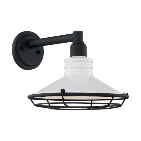 Blue Harbor 1-Light Sconce with Gloss White and Textured Black Finish