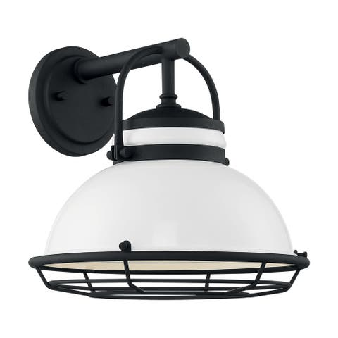 Upton 1-Light Sconce with Gloss White and Textured Black Finish