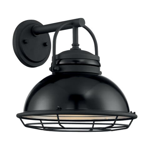 Upton 1-Light Sconce with Black and Silver & Black Accents Finish