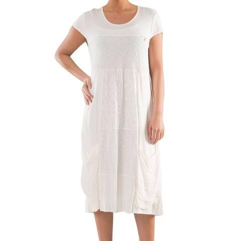 Knit Dress with Embroidery - Women's Plus Size Dresses - Plus Size Clothing - La Mouette Collection
