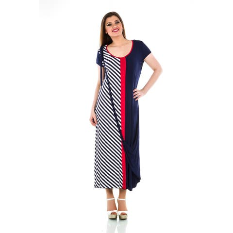 Knit Dress with Striped Panel - Women's Plus Size Dresses - Summer Dress - La Mouette Collection