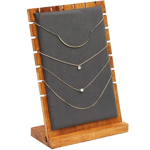 Wood and Velvet Necklace Jewelry Tabletop Display Board, 9.75 x 6.6 x 0.3 inch