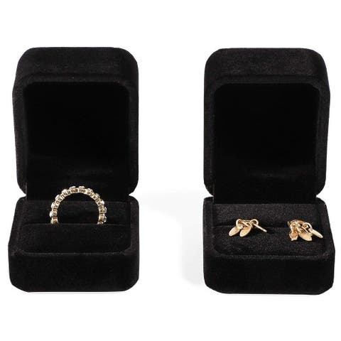 2 Packs Jewelry Gift Box Case Holder for Earring and Ring Display, Black Velvet, 2 x 2.5 Inches