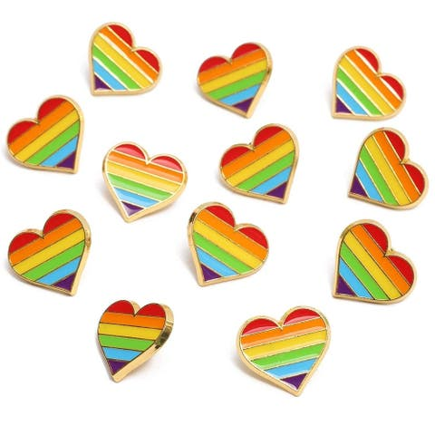 12x Gay Pride Accessories LGBTQ Enamel Pins Rainbow Striped Hearts, 0.9 x 0.8 in
