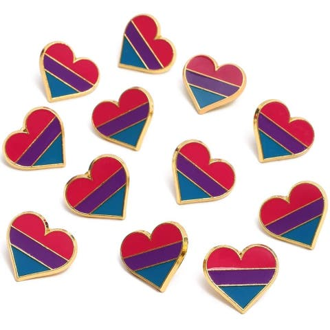 12x Bisexual Pride Pins Enamel Pins Striped Hearts LGBTQ Flag, 0.9 x 0.8 inch