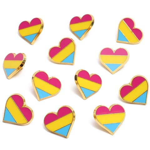 12x Pansexual Pride Pins Enamel Pins Striped Hearts LGBTQ Flag, 0.9 x 0.8 inch