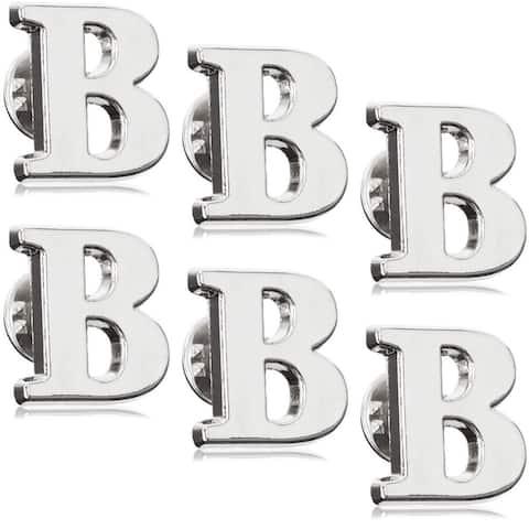 6x Initial Alphabet Letter B Monogram Lapel Pin Brooch Badge, Silver, 0.8 Inch