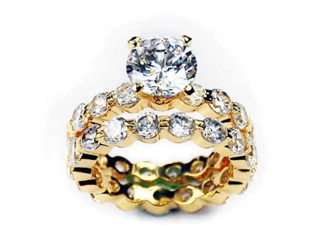 Simon Frank 14k Gold Overlay Cubic Zirconia Bridal Rings Set