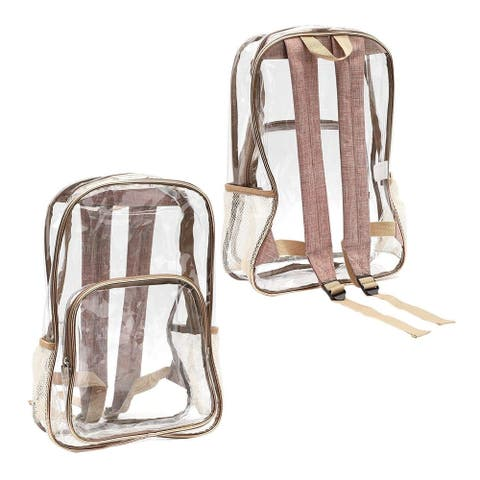 Clear School Backpack with Rose Gold Trim for Kids Boys Girls 16.5 x 12 x 4.5""