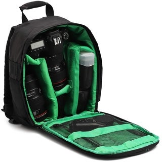 DSLR Camera Backpack Bag for Photographer Camera and Len Tripod Flash Accessories, Small, Black and Green