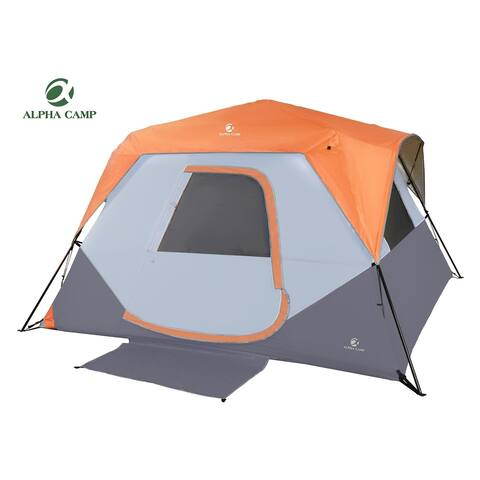 ALPHA CAMP 6 Person Instant Tent for Camping Easy Setup Cabin Tent with Foot Mud - 10' x 9'