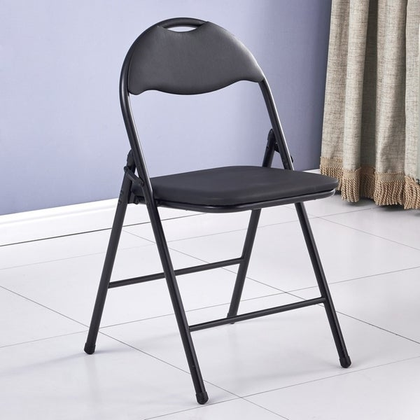 6-Pack/4-Pack Folding Chair with Handle Hole, Leather Padded Seat and Back