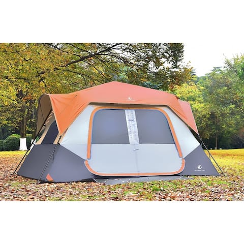 Roll over image to zoom in ALPHA CAMP Instant Cabin Tent for Camping 6-8 Person Easy Setup Family Tent with Foot Mud