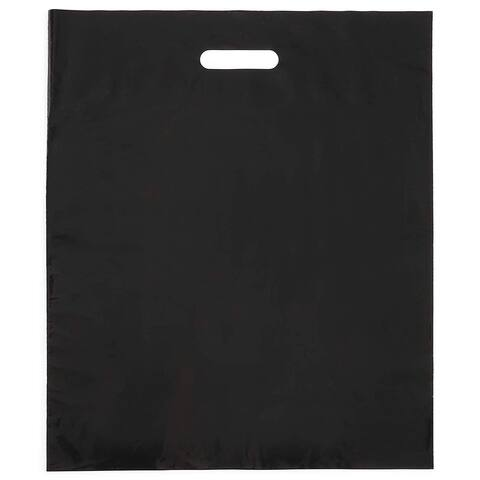 100 Pack 12x15 inches Thick Plastic Black Merchandise Shopping Bags with Die Cut Handles for Retail Multi purpose