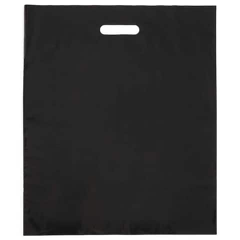 100 Pack 18x15 inches Thick Plastic Black Merchandise Shopping Bags with Die Cut Handles for Retail Multi purpose