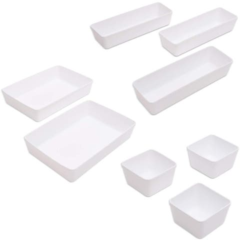 8 Pcs Plastic Desk & Vanity Drawer Organizer Dividers Tray for Home Office White