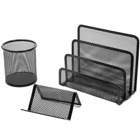 3 Piece Mesh Desk Organizer Office Supplies Accessories Home Décor Set Black