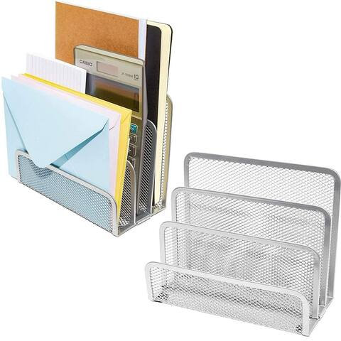 2 Pack Small Metal Mesh Desk Mail Letter Sorter File Organizer Set for Home Office School Desktop, 6.8x3.4x5.5inch, Silver