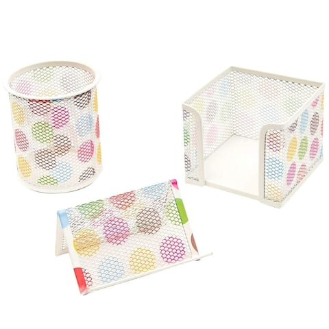 3 Piece Mesh Desk Organizer Pen Notepad Card Holder Cute Office Accessories Set