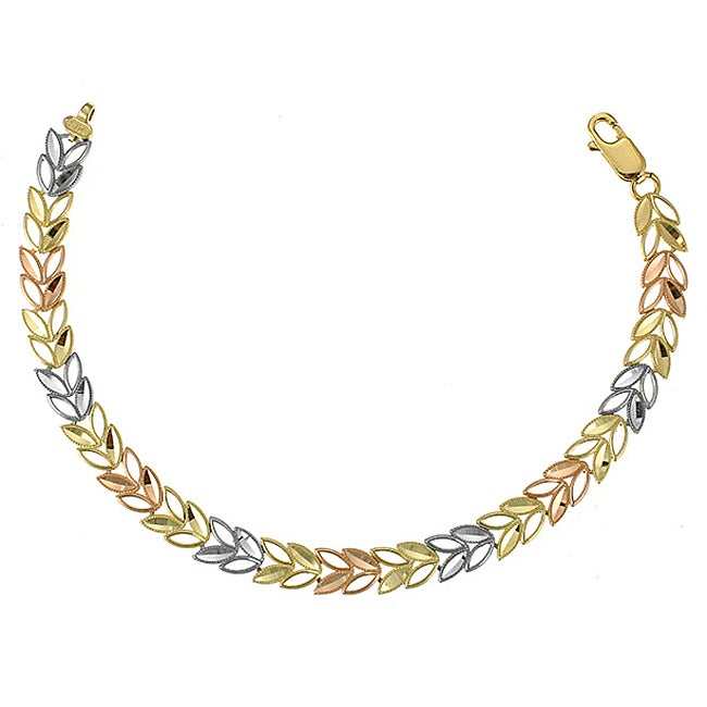 14k Three Tone Gold Leaf Design Bracelet