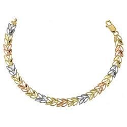 14k Three-tone Gold Leaf Design Bracelet