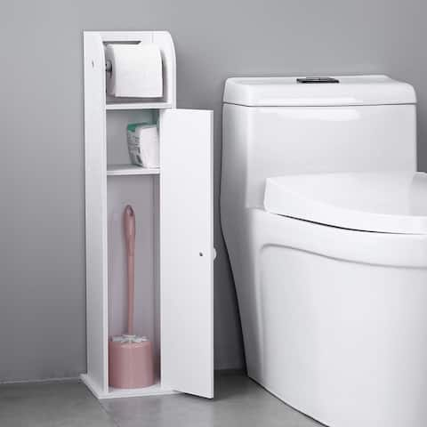 Bathroom Storage Narrow Cabinet with Paper Roll