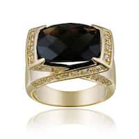 Glitzy Rocks 18k Goldplated Smokey Quartz and White Topaz Ring