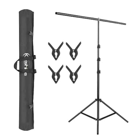 Kshioe T-Shape Backdrop Stand with 90cm Crossbar & Clamps & Carry Bag
