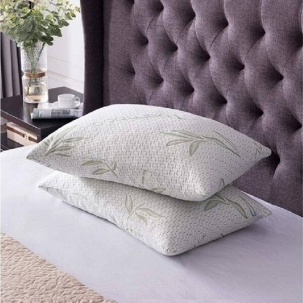 Bamboo Shredded Memory Foam Bed Pillows Hypoallergenic Cover Queen Size 2 PACK