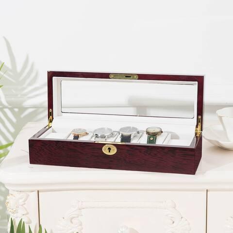 6 Slots Wooden Case Watch Display Case Jewelry Storage Organizer Gifts