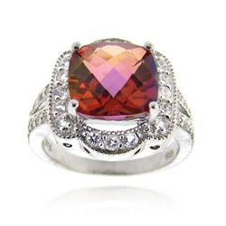 Glitzy Rocks Sterling Silver 5 CTW Genuine Pink Salmon Quartz Ring
