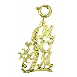14k Yellow Gold '#1 Mom' Charm