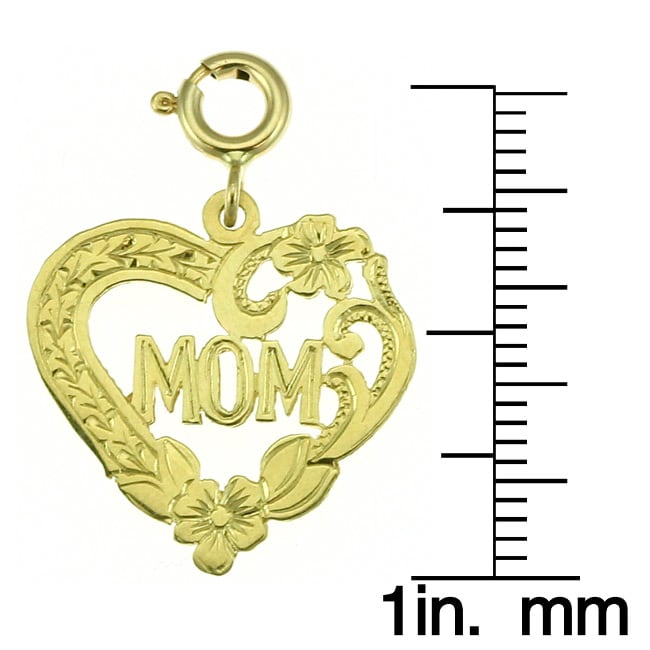 14k Yellow Gold Heart 'Mom' Charm