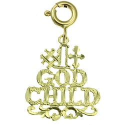 14k Yellow Gold '#1 God Child' Charm