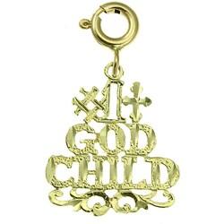 14k Yellow Gold '#1 God Child' Charm