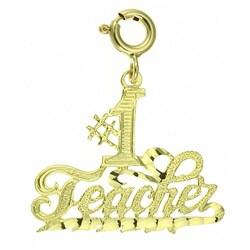 14k Yellow Gold '#1 Teacher' Charm