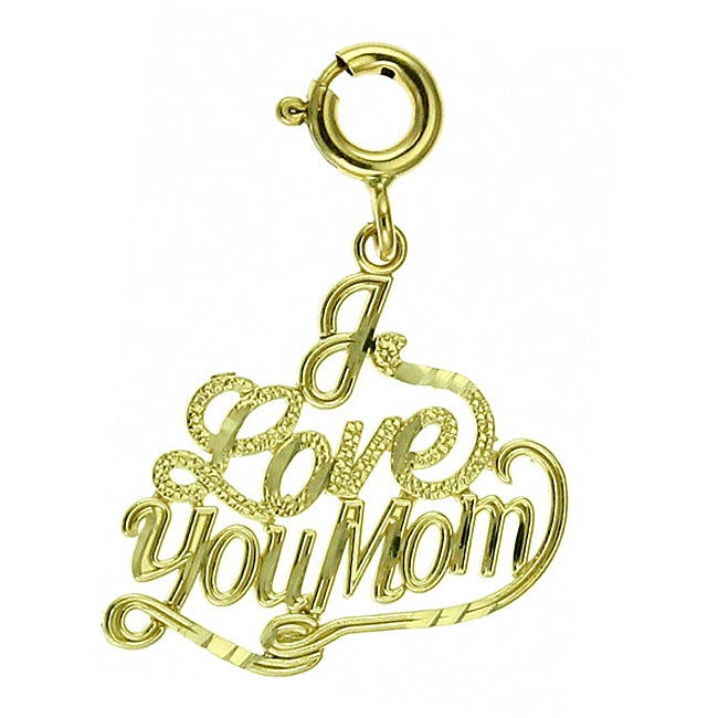 14k Yellow Gold 'I Love You Mom' Charm