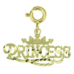 14k Yellow Gold 'Princess' Charm