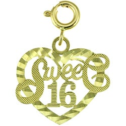 14k Yellow Gold 'Sweet 16' Charm - Thumbnail 0