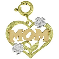 14k Tricolor Gold Heart 'Mom' Charm