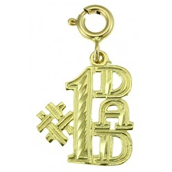 14k Yellow Gold '#1 Dad' Jewelry Charm